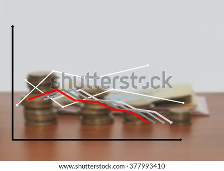 Schedule of the lines on the background of blurred coins, with copy text, copy space. Line chart on background coins and background blur. - stock photo