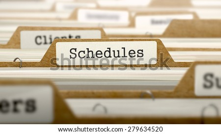 Schedules Concept. Word on Folder Register of Card Index. Selective Focus.