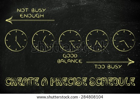 scheduling with precision: find a good balance between too busy and not enough - stock photo