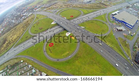 Schelkovskaya interchange MKAD in Moscow, Russia. View from unmanned quadrocopter - stock photo