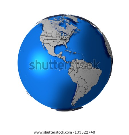 Schematic Earth with accurate country boundaries, isolated on white. Elements of this image furnished by NASA. Other orientations available.