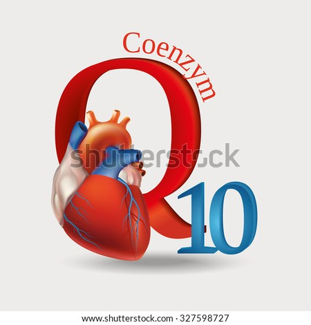 Schematic representation of Coenzyme Q10 - antioxidant substances necessary for the maintenance of normal heart function. Light background. Raster version.