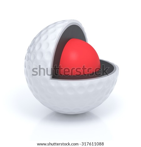 Schematic view of sliced golf ball layers isolated with clipping path - stock photo
