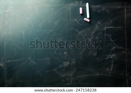 Scheme football game erased from blackboard background - stock photo