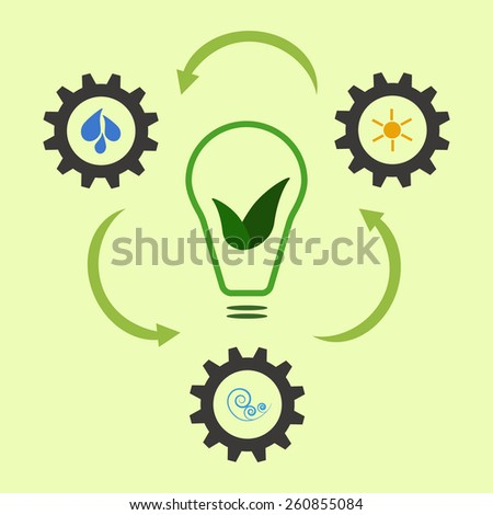 Scheme of renewable energy getting from sun, water and wind. Ecology concept, alternative power sources - stock photo