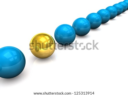 Scheme of the blue and gold spheres.