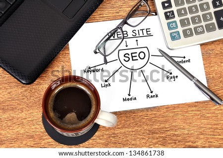 scheme seo and laptop in office - stock photo