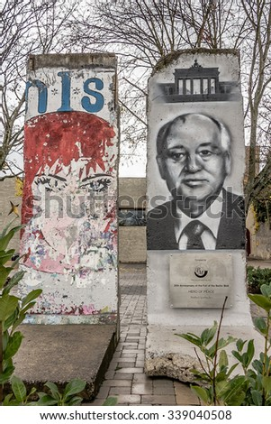 SCHENGEN, LUXEMBOURG - NOVMEBER  6, 2015:  Memorial in Schengen of 25th Anniversary of the Fall of the Berlin wall,  donated by Mikhail Gorbachev
