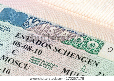 Schengen visa in the passport - stock photo