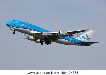 SCHIPHOL, AMSTERDAM, NETHERLANDS - APRIL 1, 2016: Boeing 747-406(M) PH-BFV  of KLM Royal Dutch Airlines in new colors taking off at Schiphol international airport.