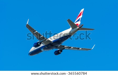 Schiphol, Noord-Holland/Netherlands - January 17-01-2016 - Airplane British Airways CityFlyer G-LCYE Embraer ERJ-170 is taking off at Schiphol airport. The plane will fly to his final destination. - stock photo