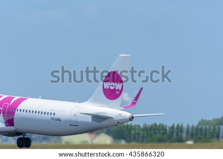 Schiphol, Noord-Holland/Netherlands - June 9-06-2016 - Airplane from WOW air TF-DAD Airbus A321-200 is taking off at Schiphol airport. The plane will fly to his final destination.