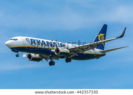 Schiphol, Noord-Holland/Netherlands - June 16-06-2016 - Airplane Ryanair EI-DAC Boeing 737-800 is flying to the runway. The Commercial jet aeroplane started the landing gear system for landing.