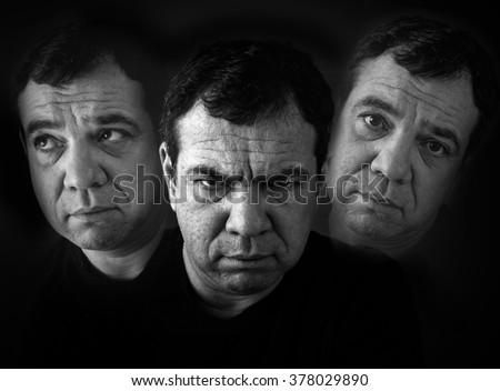Schizophrenia. Double Exposure photo  - stock photo