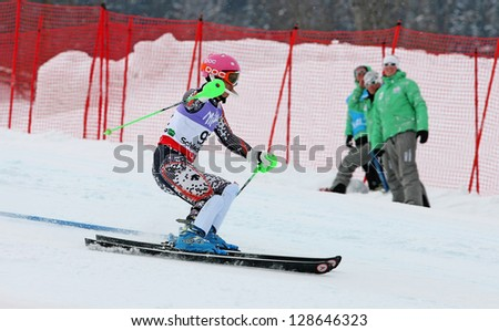 SCHLADMING, AUSTRIA - FEBRUARY 16: PARK Hyun (KOR) competing in FIS Alpine World Ski Championship Men's Slalom on February 16, 2013 in Schladming, Austria.