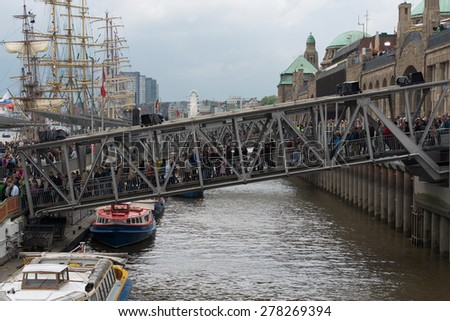 Schleswig Holstein, Germany, May 09, 2015: Harbour Birthday in Hamburg will be celebrated at the pier at the Hamburg Harbour Birthday on May 9th, 2015 - stock photo