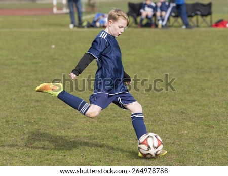 Schleswig Holstein - Tellingstedt, Germany â?? March 22, 2015: Teenager playing football in the club - stock photo