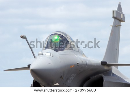 SCHLESWIG-JAGEL, GERMANY - JUN 23, 2014: French Navy Dassault Rafale during the NATO Tiger Meet at Schleswig-Jagel airbase. The Rafale flies with the French Navy since 2000. - stock photo