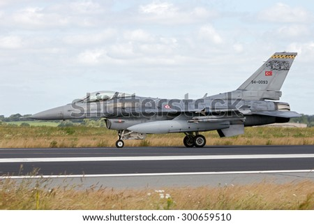SCHLESWIG-JAGEL, GERMANY - JUN 23, 2014: Turkish Air Force F-16 fighter jet during the NATO Tiger Meet at Schleswig-Jagel airbase. The Tiger Meet is to promote solidarity between NATO air forces - stock photo