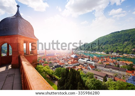 Schloss Heidelberg and city panorama from castle - stock photo