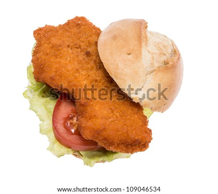 Schnitzel on roll isolated on white background - stock photo
