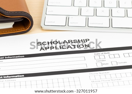 Scholarship application form with keyboard