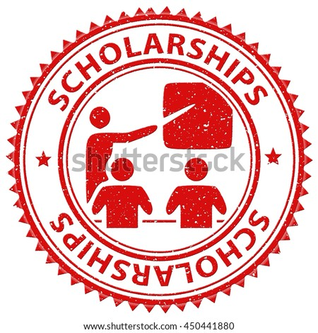 Scholarships Stamp Showing Education Learned And Diploma - stock photo