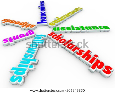 Scholarships words financial aid support stipends, grants, fellowships, honorariums - stock photo