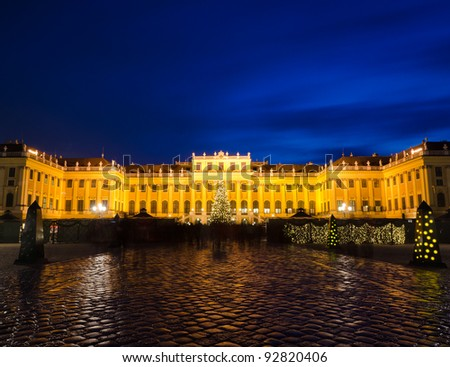 Schonbrunn at night with Christmas lights - stock photo