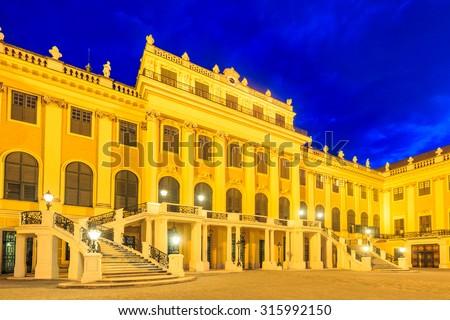 Schonbrunn Palace on twillight scene in Vienna, Austria - stock photo