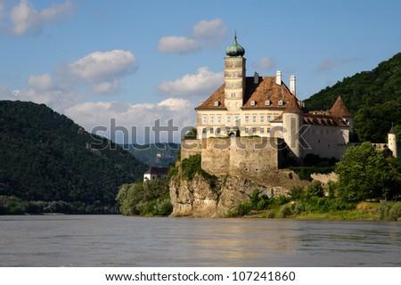 Schonbuhel Castle on the Danube river in Austria - stock photo