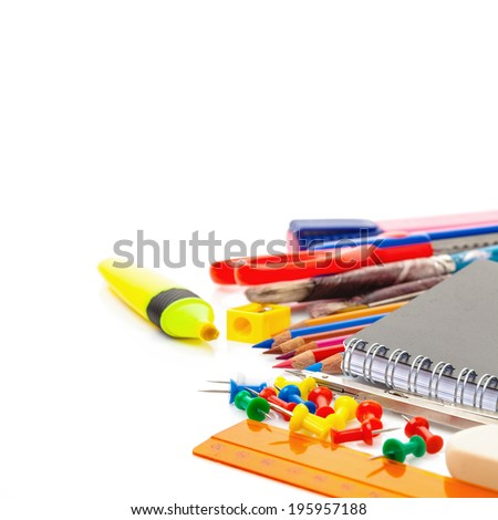 school accessories isolated over white