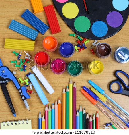 School accessories on a wooden table