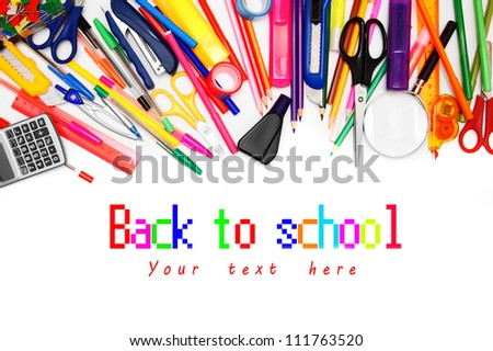 School accessories on white background. - stock photo