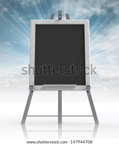 school  aluminium tripod front view with sky flare illustration