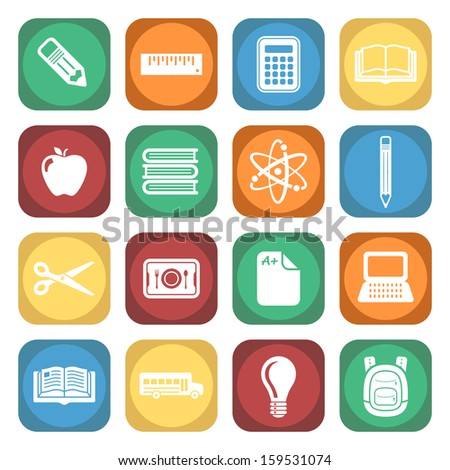 School and Education Colorful Square Icon Set.  Raster version. - stock photo
