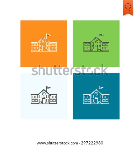 School and Education Icon - School Building.  Illustration. Flat design style