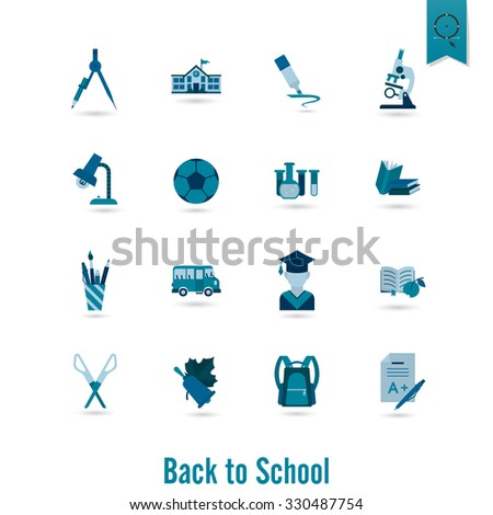 School and Education Icon Set. Flat design style.
