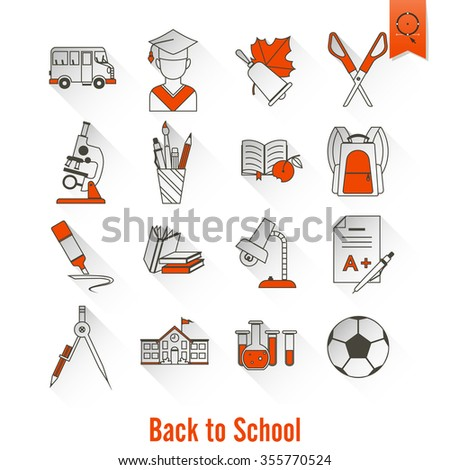 School and Education Icon Set. Flat design style.  - stock photo