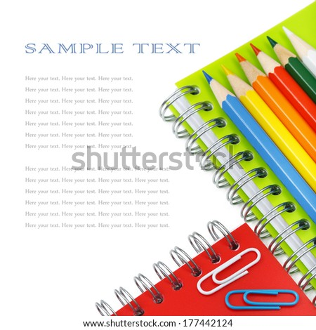 School and office stationery isolated over white with copyspace.  - stock photo