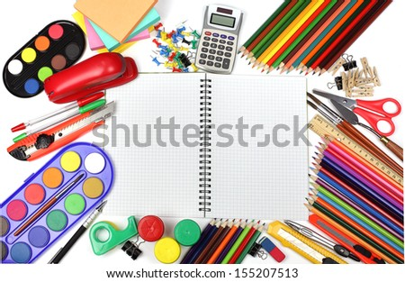 School and office supplies, booklet, watercolor, calculator, pencils. back to school concept.