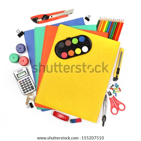 School and office supplies, folders, watercolor, calculator isolated on white background.