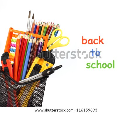 School and office supplies in pencil case isolated on white background with copyspace.