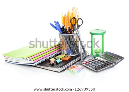 School and office supplies isolated on white
