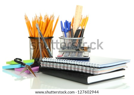 School and office supplies isolated on white - stock photo