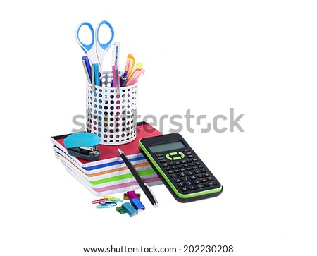 School and office supplies isolated on white background - stock photo