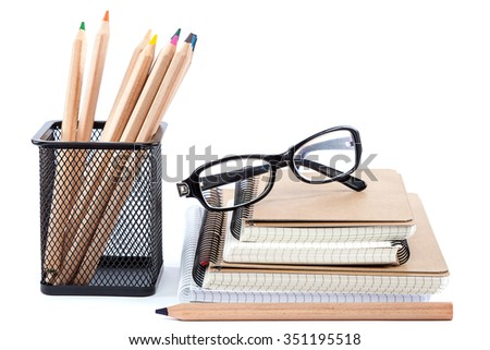 School and office supplies isolated on white background. Back to school. - stock photo