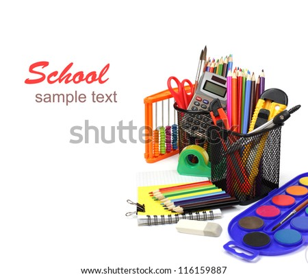 School and office supplies isolated on white background . Back to school concept.