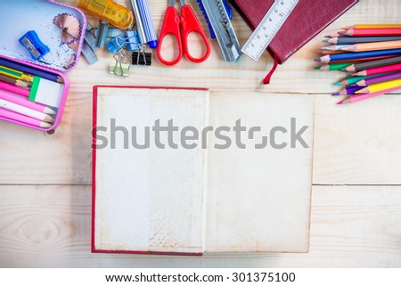 School and office supplies on wood background. Back to school. - stock photo