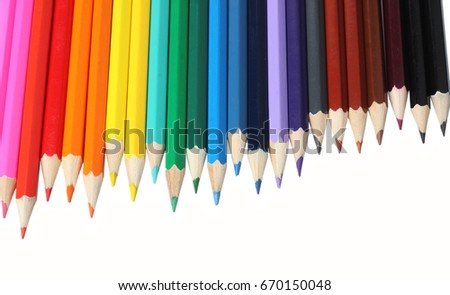 school and office supplies. school background. colored pencils isolated on white background